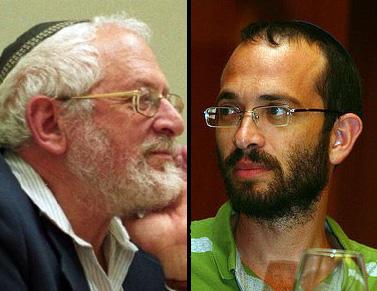 """עורך מוסף """"שבת"""" יואב שורק (מימין) והרב ישראל רוזן (צילום: כנס כיפה ואתר מכון צומת, רשיון cc)"""