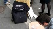 """הפגנה מול בית-הדין לעבודה במהלך המשפט נגד הנהלת ynet. 23.2.12 (צילום: """"העין השביעית"""")"""