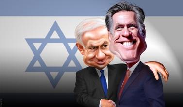 """מיט רומני, המועמד הרפובליקאי לנשיאות ארה""""ב, ובנימין נתניהו, ראש ממשלת ישראל (קריקטורה: DonkeyHotey, רישיון CC BY-SA 2.0)"""