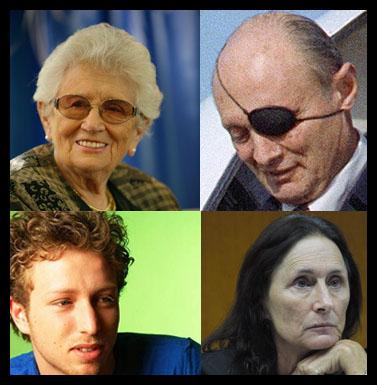 """משפחת דיין. משמאל בכיוון השעון: רות, משה, יעל, ליאור (צילומים: פלאש 90, יחס""""צ)"""