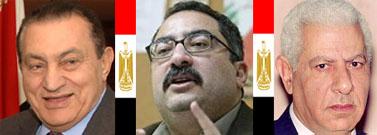 """היו""""ר, הנאשם והנשיא. מימין: מכרם מוחמד אחמד, אבראהים עיסא, חוסני מובארכ"""