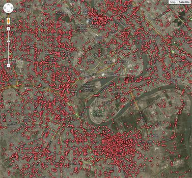 """מפה של ה""""גרדיאן"""" המציגה חללים במלחמה בעיראק על-פי מסמכי ויקיליקס"""
