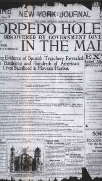 """הדיווח השגוי ב""""ניו-יורק ג'ורנל"""" על מעורבות ספרדית בפיצוץ הספינה האמריקאית מיין (ספריית הקונגרס, צילום מתוך הספר)"""