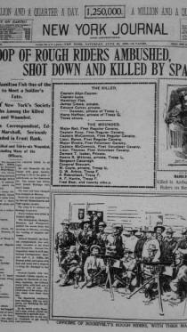 """""""הניו-יורק ג'ורנל"""" מדווח על מארב של צבא ספרד, מלחמת ארה""""ב-ספרד"""