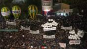 העצרת ה-14 לזכר יצחק רבין, אתמול בכיכר רבין בתל-אביב (צילום: לירון אלמוג)