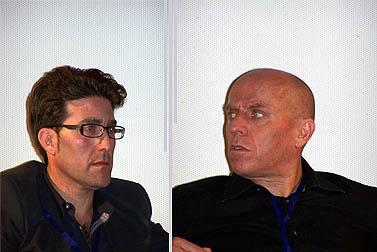 """מנכ""""ל ערוץ 10 יוסי ורשבסקי (מימין) והעיתונאי רן רזניק בכנס חיפה לתקשורת צעירה. 27.5.10 (צילום: """"העין השביעית"""")"""