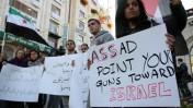 הפגנה נגד החלטת סין ורוסיה שלא לגנות את סוריה, אתמול ברמאללה(צילום: עיסאם רימאווי)
