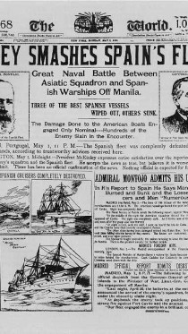 """ה""""ניו-יורק וורלד"""" מדווח על נצחונו של האדמירל דיואי בקרב מנילה, מלחמת ארה""""ב-ספרד"""