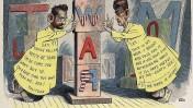 """קריקטורה של ליאון באריט המתארת את מאבק המו""""לים הרסט ופוליצר על רקע מלחמת ספרד-ארה""""ב. 29 ביוני 1898, """"וים מגזין"""""""