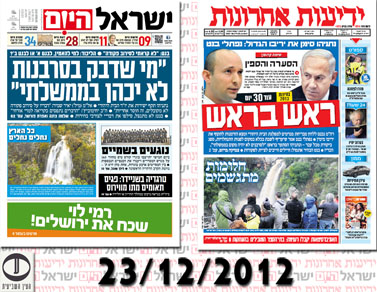 """""""ראש בראש"""": כך עיצבה ההטיה הפוליטית את שערי """"ישראל היום"""" ו""""ידיעות אחרונות"""" (לחצו לסקירה)"""