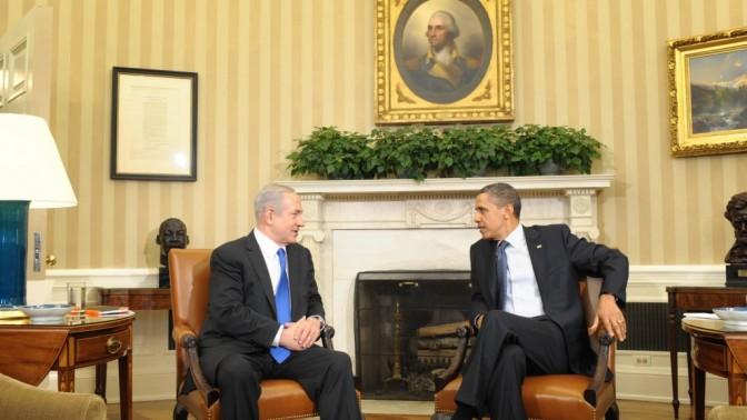 """פגישת ברק אובמה ובנימין נתניהו, אתמול בבית-הלבן (צילום: עמוס בן-גרשום, לע""""מ)"""