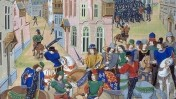סר ויליאם וולוורת, הלורד ראש העיר של לונדון, הורג את ווט טיילר, מנהיג מרד האיכרים, אחרי שהעליב את מלך אנגליה (צייר לא ידוע, המאה ה-15)