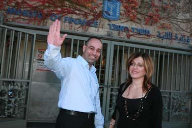 ירון זליכה ואשתו במסיבת פרידה במשרד האוצר, 5 לדצמבר 2007 (צילום פלאש 90)
