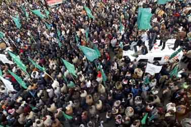 """עצרת חמאס לאחר יציאת צה""""ל מעזה (צילום: """"פלאש 90"""")"""
