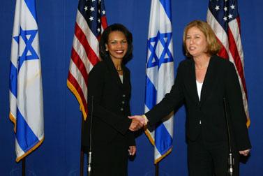 שרת החוץ ציפי לבני ומזכירת המדינה האמריקאית, קונדליזה רייס, היום במסיבת עיתונאים בירושלים (צילום: פלאש 90)