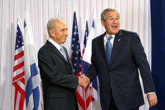 ג'ורג' בוש ושמעון פרס בוועידת הנשיא (צילום: פלאש 90)