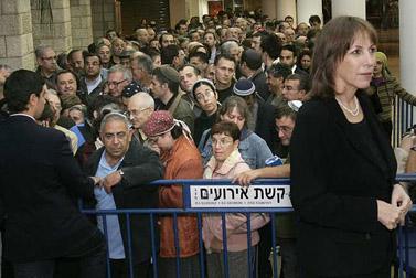 תור בקלפי לליכוד, אתמול בירושלים (צילום: אוליביה פיטוסי)
