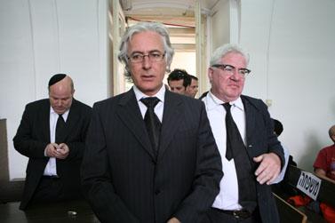 פרקליטי קצב, משמאל: אביגדור פלדמן, ציון אמיר, אברהם לוי (צילום: פלאש 90)