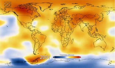 מתוך סרטון ב-Climate Central, מפה דינמית של התחממות כדור הארץ (צילום מסך)