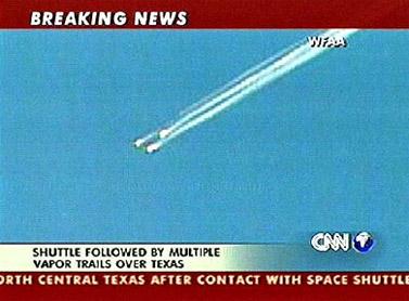 פריצה לשידור ברשת CNN בדיווח על תקלה בנחיתת מעבורת החלל קולומביה. 1 בפברואר 2003 (צילום מסך)