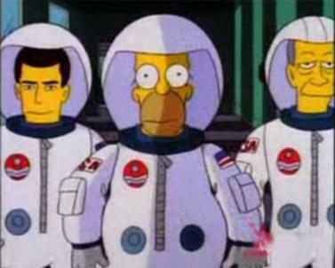 """דמותו של הומר סימפסון (במרכז), מתוך הפרק """"הומר בחלל"""" (צילום מסך)"""