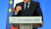 נשיא צרפת ניקולא סרקוזי נואם ביום הראשון של ועידת ה-G8 בצרפת (צילום: Guillaume Paumier, רישיון cc)