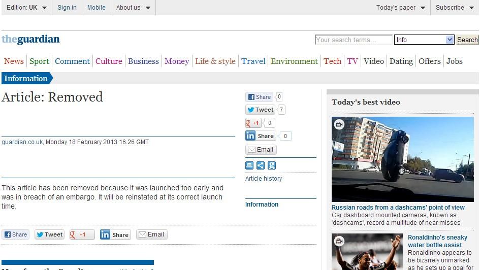 """דף באתר ה""""גרדיאן"""" שתוכנו הוסר בשל הפרת אמברגו"""