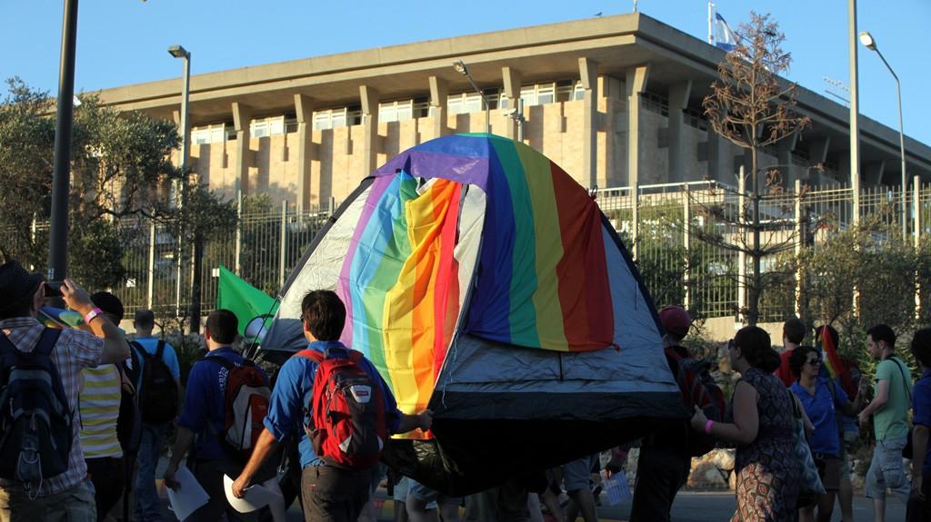 מצעד הגאווה ליד הכנסת בירושלים, יולי 2011 (צילום: יוסי זמיר)