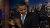 נשיא ארצות-הברית ברק אובמה מתארח בתוכניתו של דייוויד לטרמן (צילום מסך)