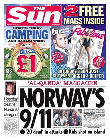 """""""טבח 'אל-קאעידה', ה-9.11 הנורבגי"""". שער """"הסאן"""" הבריטי"""