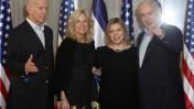 בני הזוג נתניהו ובני הזוג ביידן, אתמול (צילום: מרים אלסטר)