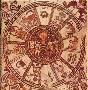 גלגל מזלות שהתגלה בבית-כנסת ליד בית-אלפא (צילום: NASA)