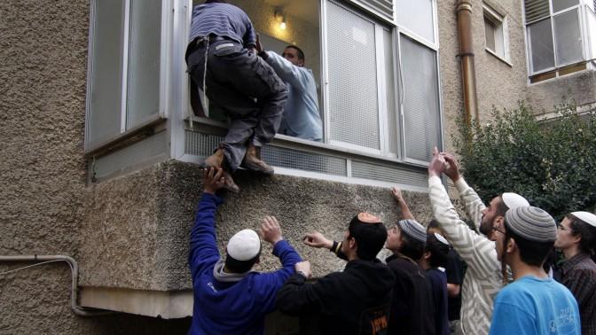 עימות בין שוטרים לפעילי ימין, אתמול בירושלים (צילום: אורן נחשון)