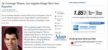 As Coverage Wanes, Los Angeles Kings Hires Its Own Reporter - NYTimes.com