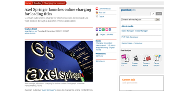 Axel Springer launches online charging for leading titles  Media  guardian.co.uk