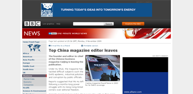 BBC NEWS  Business  Top China magazine editor leaves