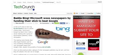 Badda Bing! Microsoft woos newspapers by funding their stick to beat Google