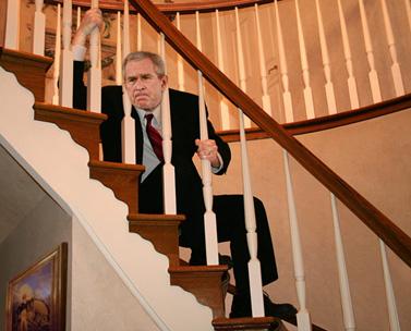 """""""בוש מסרב לקבוע לוח-זמנים להוצאת ראשו"""", מתוך """"The Onion"""""""