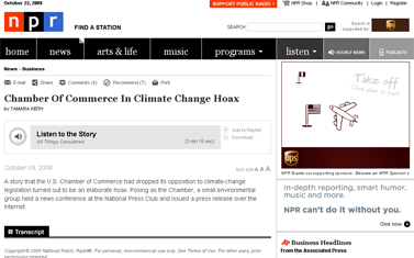 Chamber Of Commerce In Climate Change Hoax - NPR