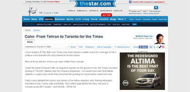 Cohn- From Tehran to Toronto for the Times - thestar.com
