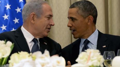"""ראש הממשלה בנימין נתניהו ונשיא ארה""""ב ברק אובמה בעת ביקורו של האחרון בישראל, 21.3.13 (צילום: אבי אוחיון, לע""""מ)"""