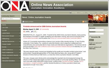 Finalists announced for 2009 Online Journalism Awards - Online News Association