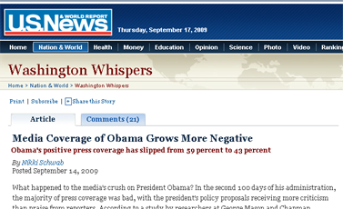 Media Coverage of Obama Grows More Negative - US News and World Report