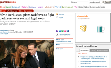 Silvio Berlusconi plans taskforce to fight bad press over sex and legal woes  World news  guardian.co.uk