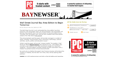 Wall Street Journal Bay Area Edition to Begin Tomorrow - mediabistro.com- BayNewser