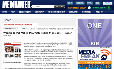 Wenner to Put Web in Play With Rolling Stone Site Relaunch