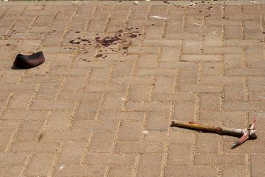 זירת פיגוע הרצח בבת-עין, אתמול (צילום: גרשון אלינסון)