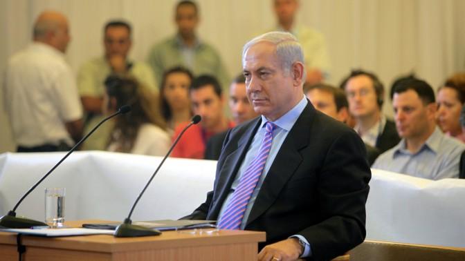 ראש הממשלה בנימין נתניהו מעיד בפני ועדת טירקל, אתמול (צילום: מרק ישראל סלם)