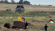 יום האדמה, גבול ישראל-עזה, אתמול (צילום: ויסאם נסאר)