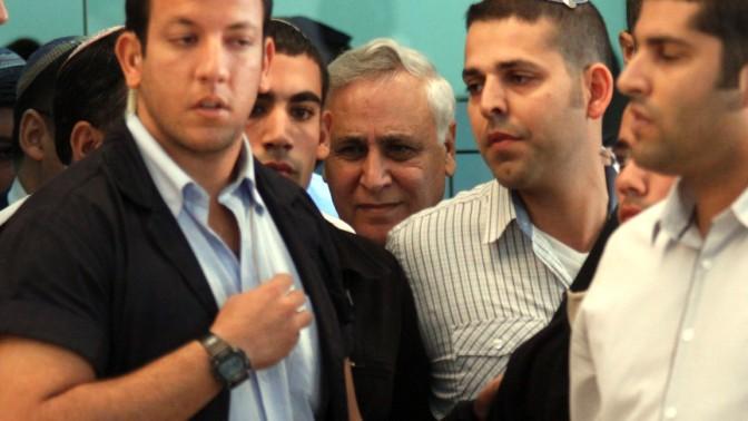 משה קצב, אתמול בצאתו מבית-המשפט העליון בירושלים (צילום: אורן נחשון)